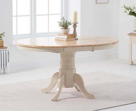 Elstree 100cm Extending Oak and Cream Painted Dining Table