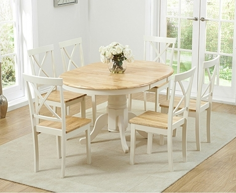 Elstree 100cm Extending Oak and Cream Painted Dining Table & Chairs