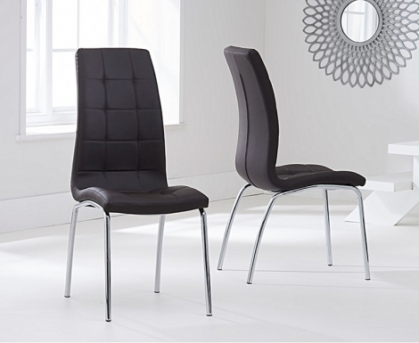 2x California Brown Faux Leather Dining Chair (Pair)
