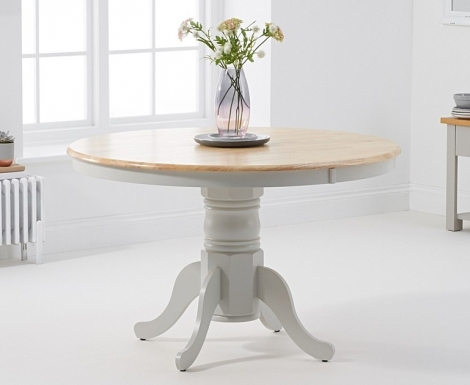 Elstree 120cm Fixed Top Oak and Grey Painted Dining Table