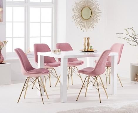 Ava 120cm White High Gloss Table & Calabasus Velvet Chairs