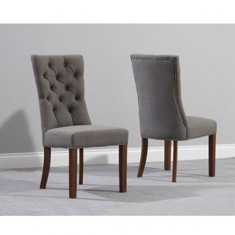 2x Alton, Grey, Fabric, Button Back Dining Chairs, Dark Leg (Pair)