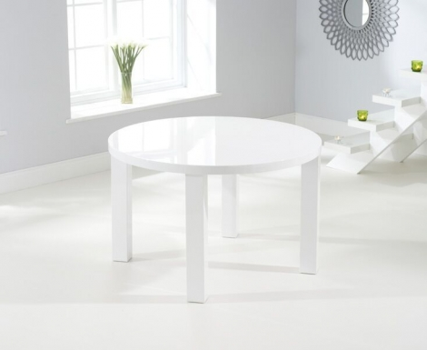 Ava 120cm White High Gloss Round Table