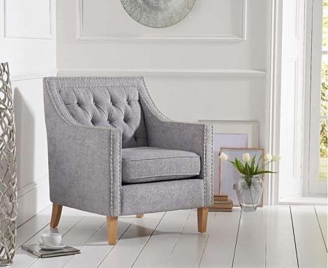 Casa Bella Grey Plush Fabric Armchair