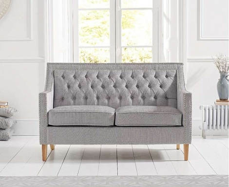 Casa Bella Grey Plush Fabric 2 Seater Sofa
