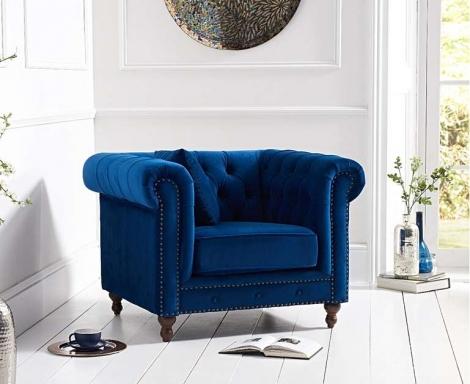 Milan Blue Plush Fabric Chesterfield Armchair