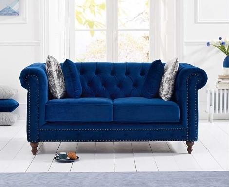 Milan Blue Plush Fabric 2 Seater Chesterfield Sofa