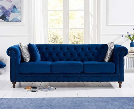 Milan Blue Plush Fabric 3 Seater Chesterfield Sofa