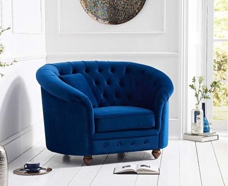 Casey Chesterfield Blue Plush Fabric Armchair