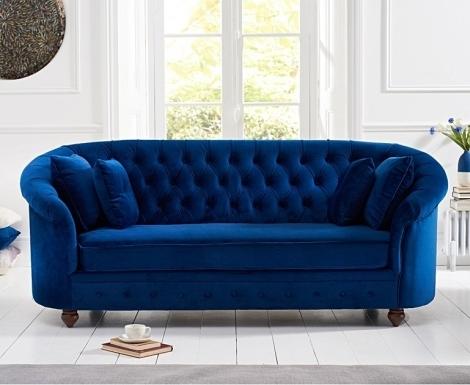 Casey Chesterfield Blue Plush Fabric 3 Seater Sofa