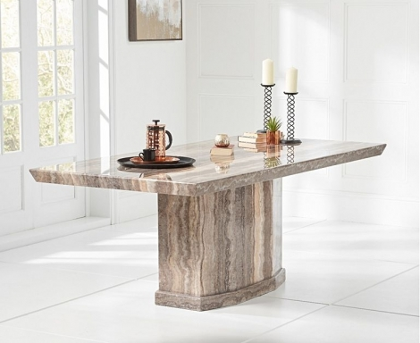 Como 200cm Brown Marble Dining Table