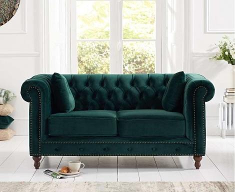 Milan Green Plush Fabric 2 Seater Chesterfield Sofa