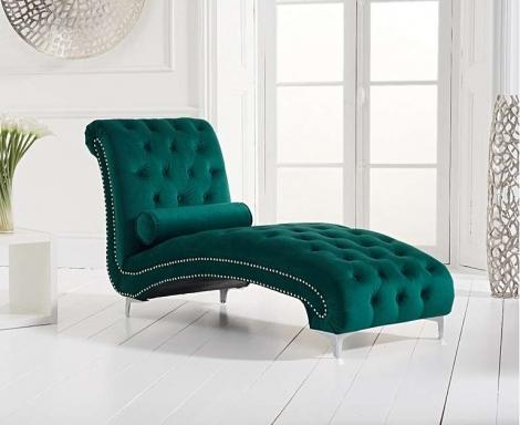 New England Green Velvet Chaise