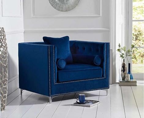 New England Blue Velvet Arm Chair