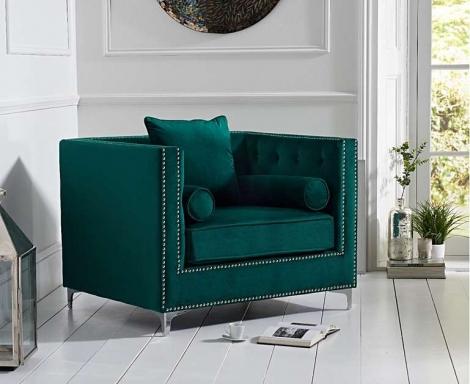 New England Green Velvet Arm Chair