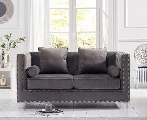 New England Grey Velvet 2 Seater Sofa