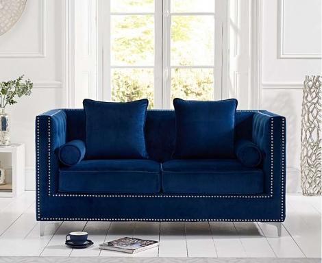 New England Blue Velvet 2 Seater Sofa