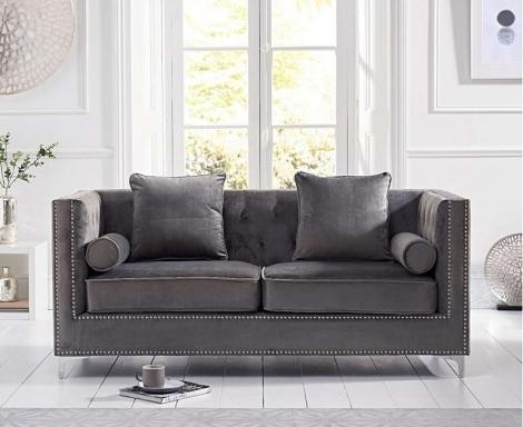 New England Grey Velvet 3 Seater Sofa