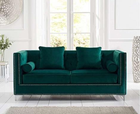 New England Green Velvet 3 Seater Sofa
