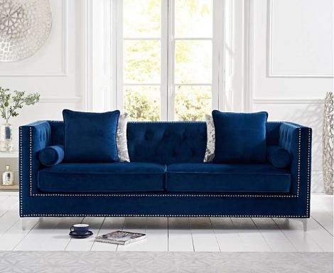 New England Blue Velvet 4 Seater Sofa