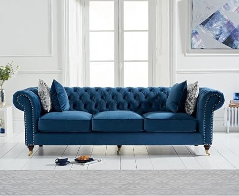 Camara Blue Velvet 3 Seater Chesterfield Sofa