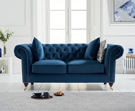 Camara Blue Velvet 2 Seater Chesterfield Sofa