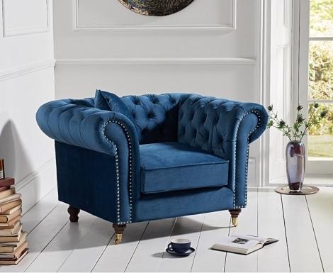 Camara Blue Velvet Chesterfield Armchair