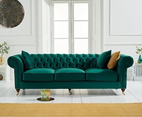 Camara Green Velvet 3 Seater Chesterfield Sofa