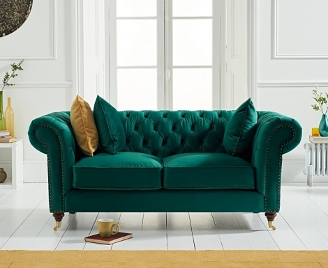 Camara Green Velvet 2 Seater Chesterfield Sofa