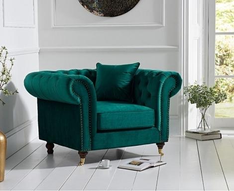 Camara Green Velvet Chesterfield Armchair