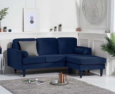 Lisa Blue Velvet Fabric 3 Seater Reversible Chaise Sofa