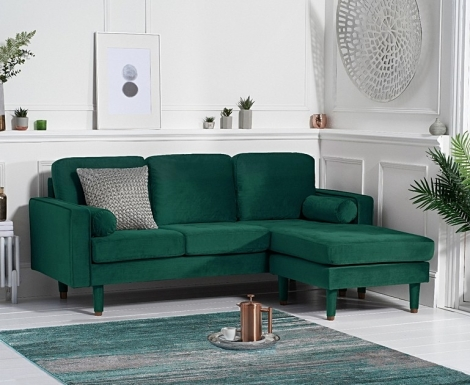 Lisa Green Velvet Fabric 3 Seater Reversible Chaise Sofa