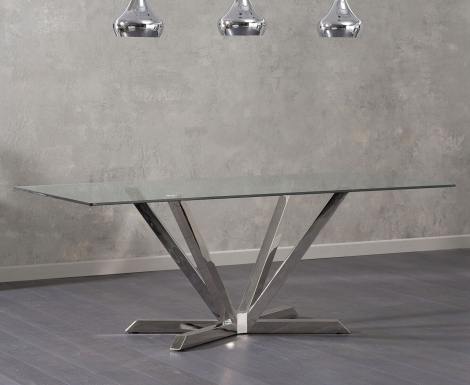 Rene Rectangular Glass & Steel Dining Table 200cm