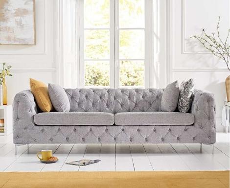 Alegra Grey Plush 3 Seater Sofa