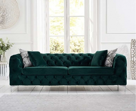 Alegra Green Plush 3 Seater Sofa
