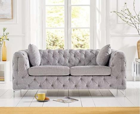 Alegra Grey Plush 2 Seater Sofa