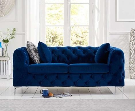 Alegra Blue Plush 2 Seater Sofa