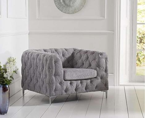 Alegra Grey Plush Armchair