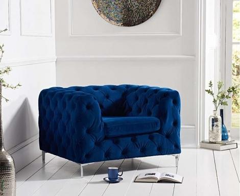 Alegra Blue Plush Armchair