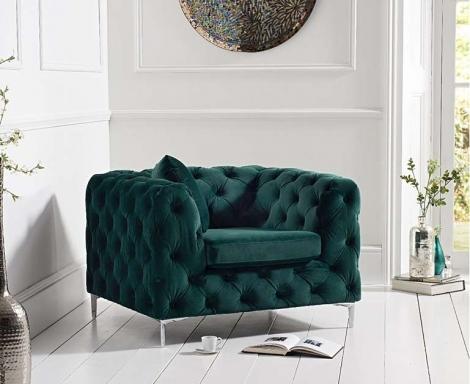 Alegra Green Plush Armchair