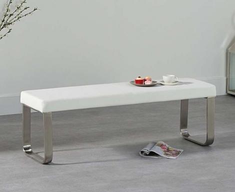Ava Medium White Bench 142cm