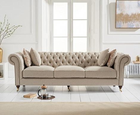 Camara Cream Linen 3 Seater Chesterfield Sofa
