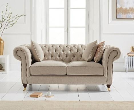 Camara Cream Linen 2 Seater Chesterfield Sofa