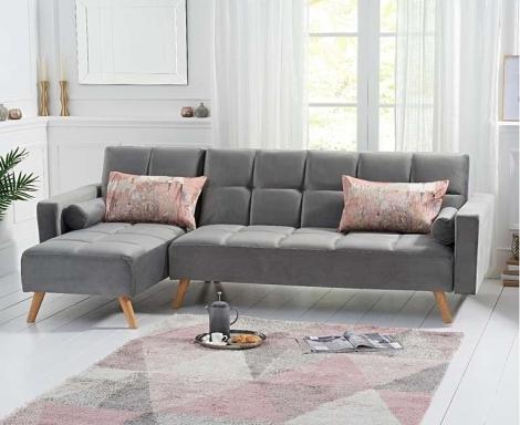 Abigail Sofa Bed Chaise in Grey Velvet
