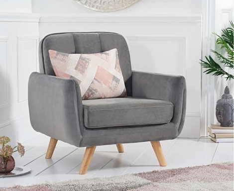 Caren Retro Style Grey Velvet Armchair