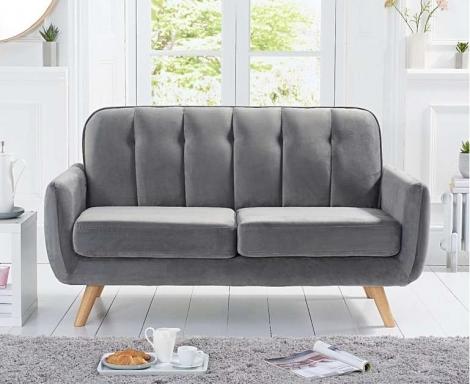 Caren Retro Style Grey Velvet 2 Seater Sofa