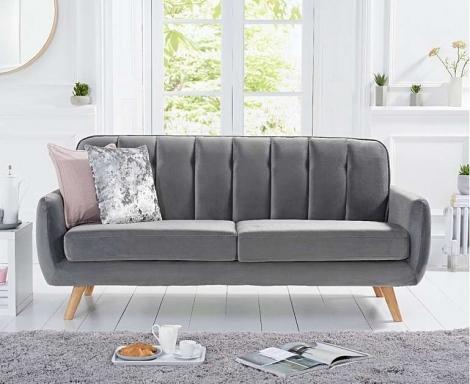 Caren Retro Style Grey Velvet 3 Seater Sofa