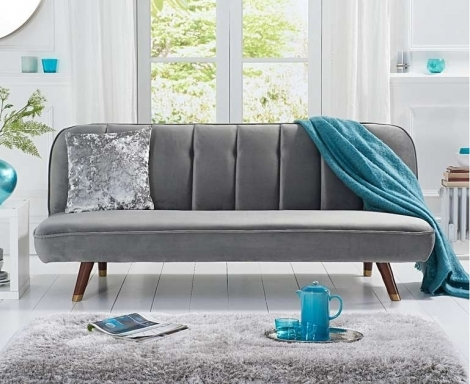 Jodie Grey Velvet Fabric Sofa Bed