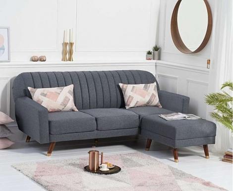 Leslie Grey Linen Fabric Sofa Bed