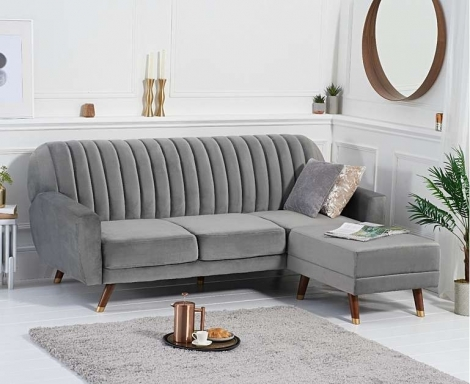 Leslie Grey Velvet Fabric Sofa Bed